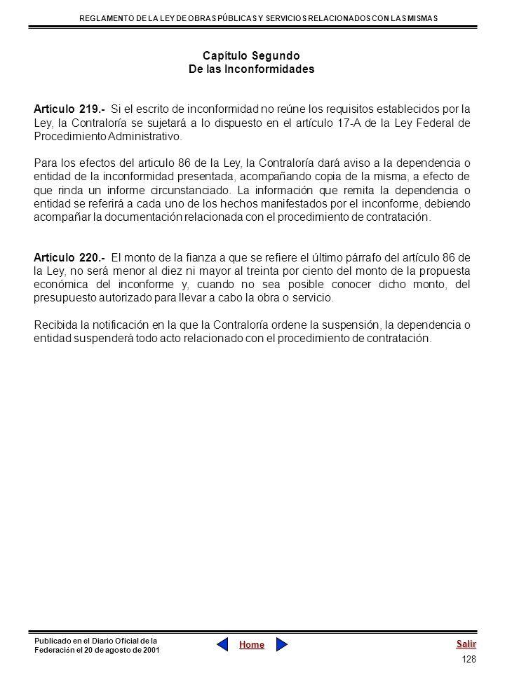 128 REGLAMENTO DE LA LEY DE OBRAS PÚBLICAS Y SERVICIOS RELACIONADOS CON LAS MISMAS Home Salir Publicado en el Diario Oficial de la Federaci ó n el 20