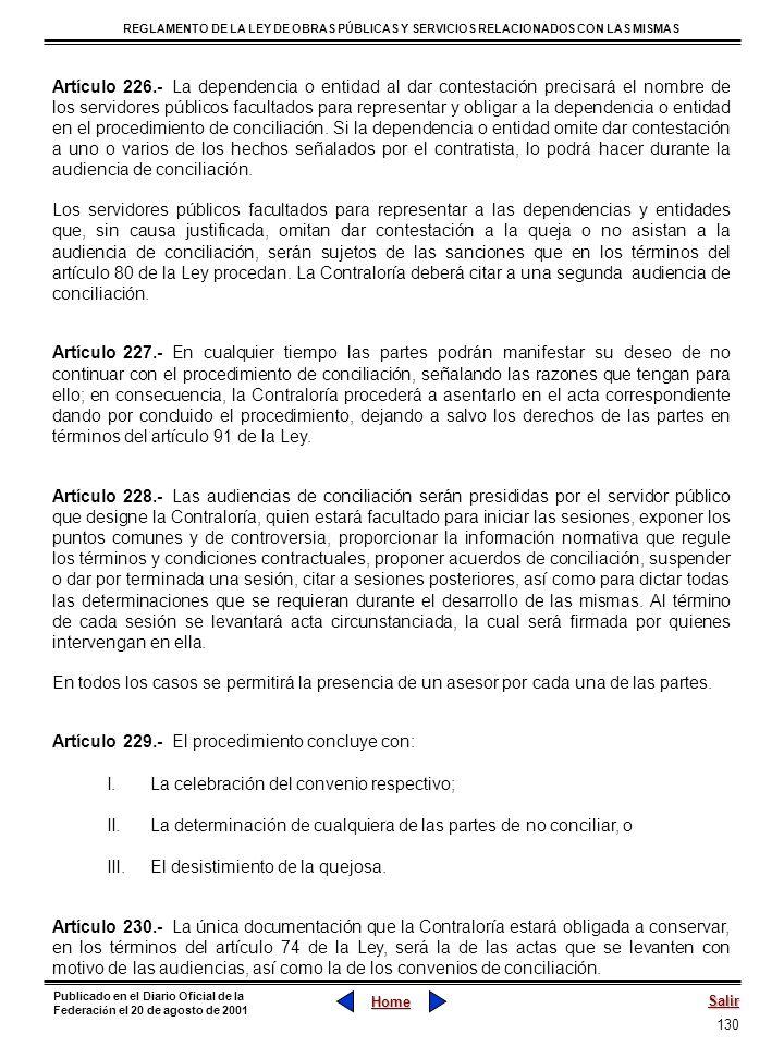 130 REGLAMENTO DE LA LEY DE OBRAS PÚBLICAS Y SERVICIOS RELACIONADOS CON LAS MISMAS Home Salir Publicado en el Diario Oficial de la Federaci ó n el 20