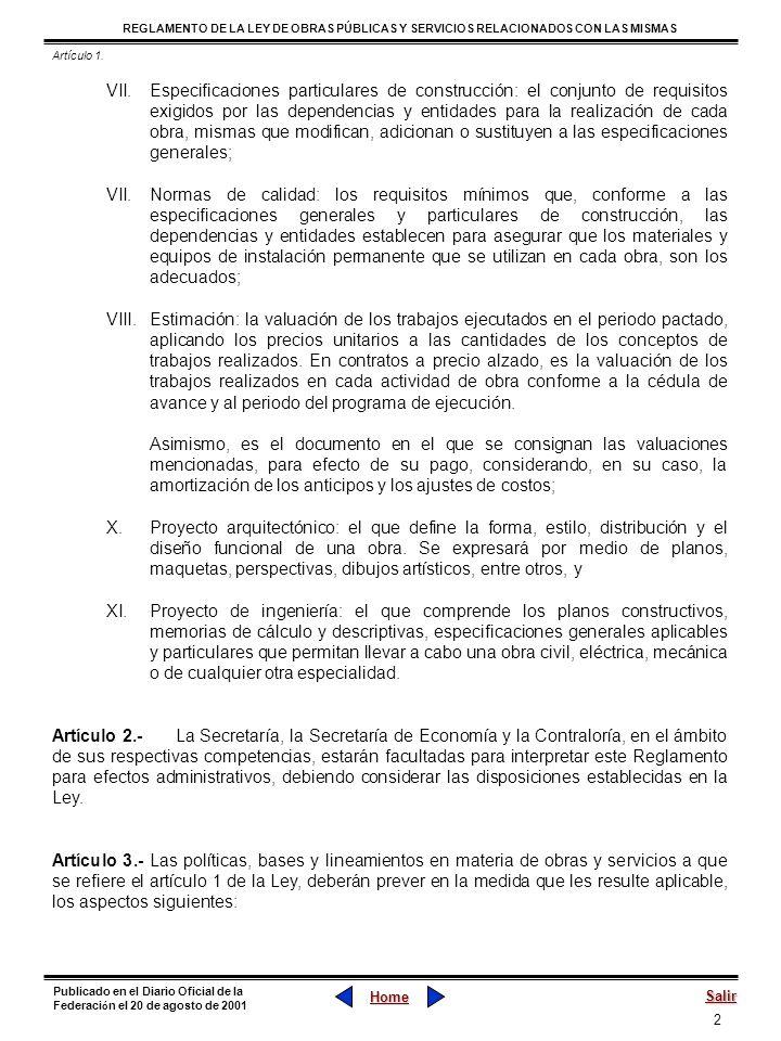 43 REGLAMENTO DE LA LEY DE OBRAS PÚBLICAS Y SERVICIOS RELACIONADOS CON LAS MISMAS Home Salir Publicado en el Diario Oficial de la Federaci ó n el 20 de agosto de 2001 Capítulo Tercero La Contratación Sección I El Contrato Artículo 49.- El contrato además de cumplir con lo señalado en el artículo 46 de la Ley, deberá contener el programa de ejecución de los trabajos y el presupuesto respectivo, así como los anexos técnicos que incluirán, entre otros aspectos, los planos con sus modificaciones, especificaciones generales y particulares de construcción.