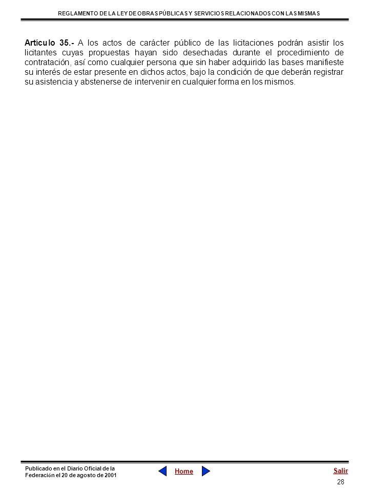 28 REGLAMENTO DE LA LEY DE OBRAS PÚBLICAS Y SERVICIOS RELACIONADOS CON LAS MISMAS Home Salir Publicado en el Diario Oficial de la Federaci ó n el 20 d