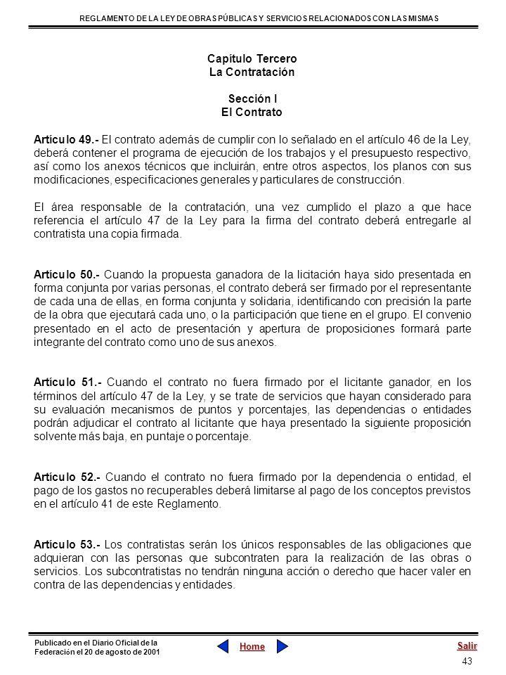 43 REGLAMENTO DE LA LEY DE OBRAS PÚBLICAS Y SERVICIOS RELACIONADOS CON LAS MISMAS Home Salir Publicado en el Diario Oficial de la Federaci ó n el 20 d