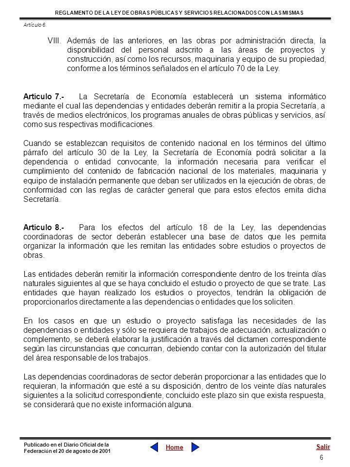 37 REGLAMENTO DE LA LEY DE OBRAS PÚBLICAS Y SERVICIOS RELACIONADOS CON LAS MISMAS Home Salir Publicado en el Diario Oficial de la Federaci ó n el 20 de agosto de 2001 Sección IV Fallo para la Adjudicación Artículo 38.- Al finalizar la evaluación de las propuestas, las dependencias y entidades deberán emitir un dictamen en el que se hagan constar los aspectos siguientes: I.Los criterios utilizados para la evaluación de las propuestas; II.La reseña cronológica de los actos del procedimiento; III.Las razones técnicas o económicas por las cuales se aceptan o desechan las propuestas presentadas por los licitantes; IV.Nombre de los licitantes cuyas propuestas fueron aceptadas por haber cumplido con los requerimientos exigidos; V.Nombre de los licitantes cuyas propuestas económicas hayan sido desechadas como resultado del análisis cualitativo de las mismas; VI.La relación de los licitantes cuyas propuestas se calificaron como solventes, ubicándolas de menor a mayor, de acuerdo con sus montos; VII.La fecha y lugar de elaboración, y VIII.Nombre, firma y cargo de los servidores públicos encargados de su elaboración y aprobación.