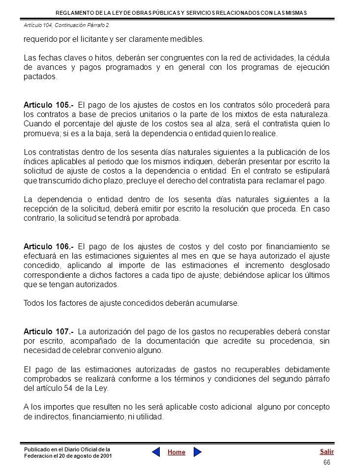 66 REGLAMENTO DE LA LEY DE OBRAS PÚBLICAS Y SERVICIOS RELACIONADOS CON LAS MISMAS Home Salir Publicado en el Diario Oficial de la Federaci ó n el 20 d