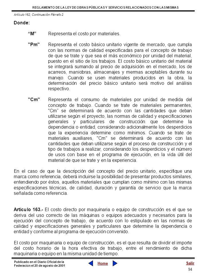 94 REGLAMENTO DE LA LEY DE OBRAS PÚBLICAS Y SERVICIOS RELACIONADOS CON LAS MISMAS Home Salir Publicado en el Diario Oficial de la Federaci ó n el 20 d