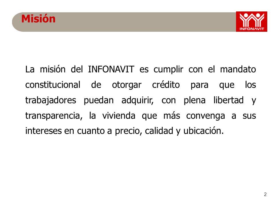 2 La misión del INFONAVIT es cumplir con el mandato constitucional de otorgar crédito para que los trabajadores puedan adquirir, con plena libertad y