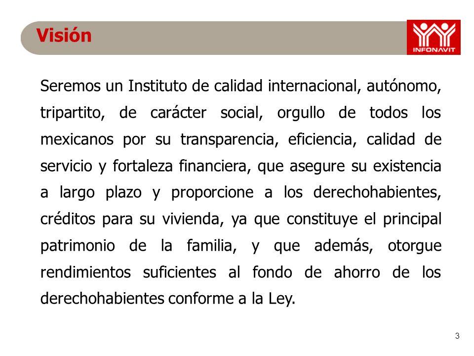 3 Visión Seremos un Instituto de calidad internacional, autónomo, tripartito, de carácter social, orgullo de todos los mexicanos por su transparencia,