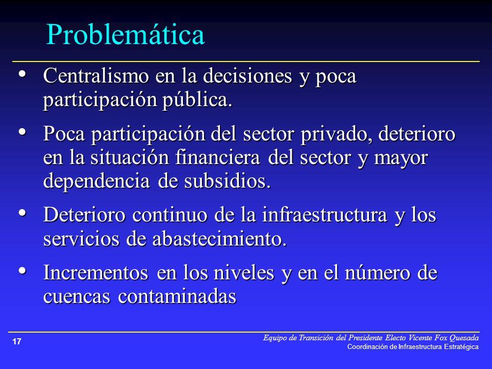 Equipo de Transición del Presidente Electo Vicente Fox Quesada Coordinación de Infraestructura Estratégica 17 Problemática Centralismo en la decisiones y poca participación pública.