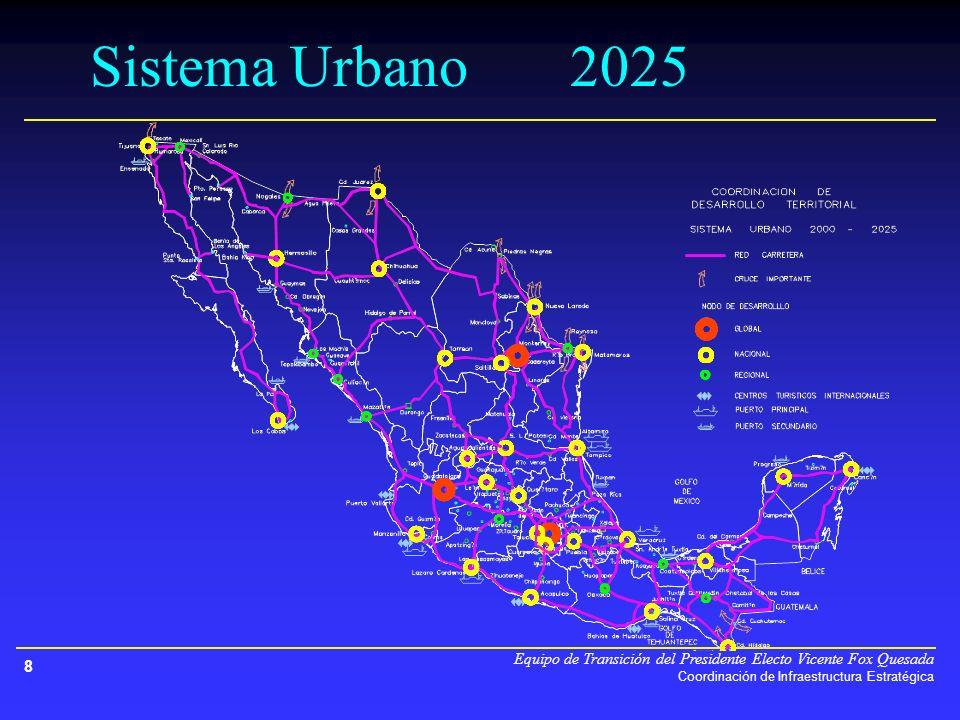 Equipo de Transición del Presidente Electo Vicente Fox Quesada Coordinación de Infraestructura Estratégica 8 Sistema Urbano2025