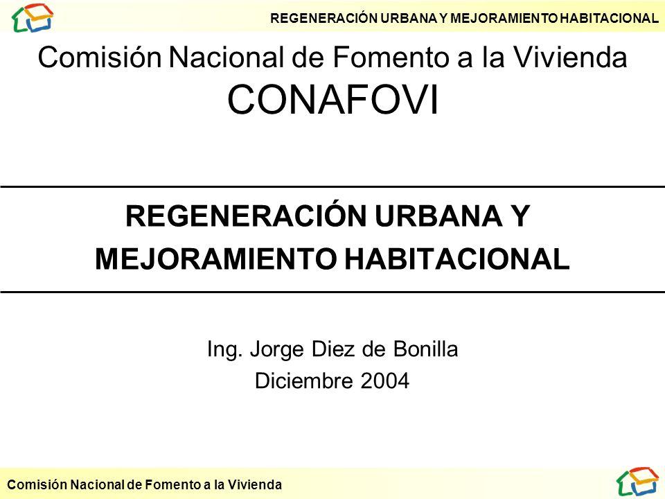 REGENERACIÓN URBANA Y MEJORAMIENTO HABITACIONAL Comisión Nacional de Fomento a la Vivienda Comisión Nacional de Fomento a la Vivienda CONAFOVI REGENER