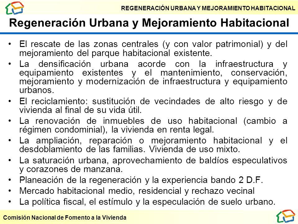 REGENERACIÓN URBANA Y MEJORAMIENTO HABITACIONAL Comisión Nacional de Fomento a la Vivienda Regeneración Urbana y Mejoramiento Habitacional El rescate