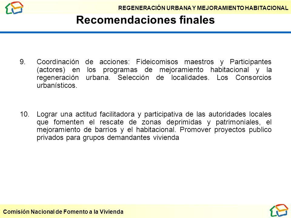 REGENERACIÓN URBANA Y MEJORAMIENTO HABITACIONAL Comisión Nacional de Fomento a la Vivienda Recomendaciones finales 9. Coordinación de acciones: Fideic