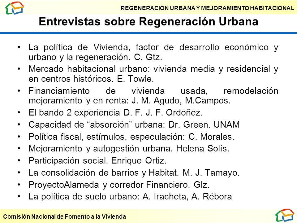 REGENERACIÓN URBANA Y MEJORAMIENTO HABITACIONAL Comisión Nacional de Fomento a la Vivienda Entrevistas sobre Regeneración Urbana La política de Vivien