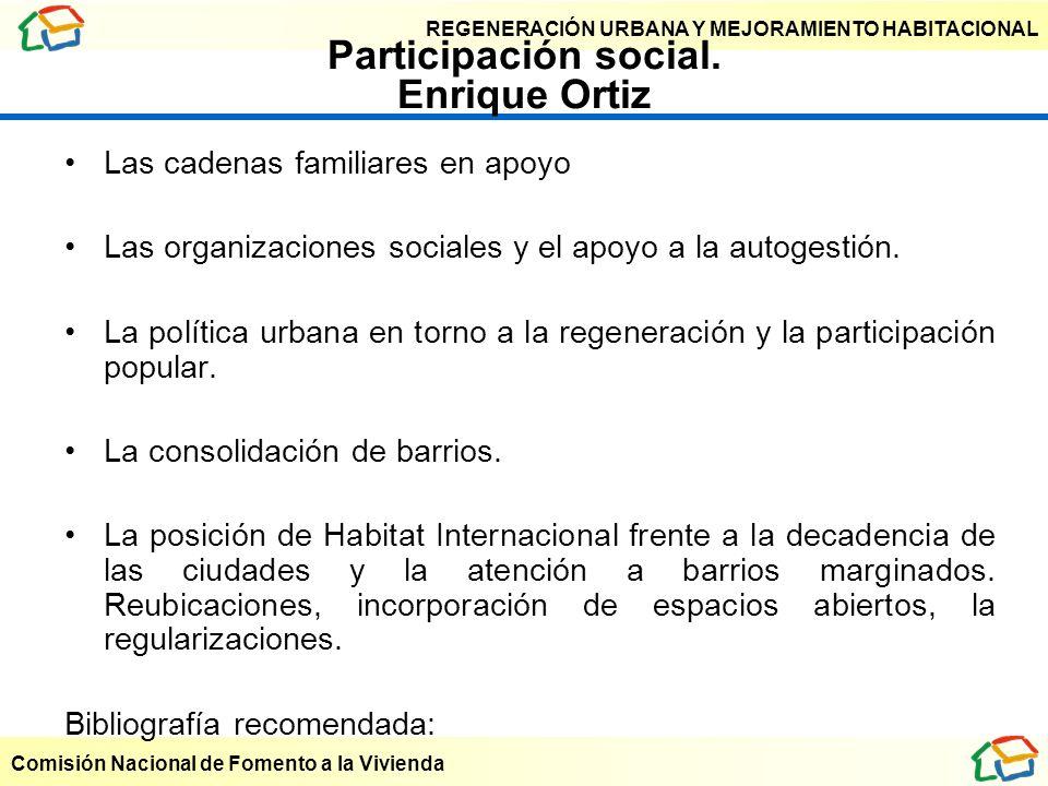 REGENERACIÓN URBANA Y MEJORAMIENTO HABITACIONAL Comisión Nacional de Fomento a la Vivienda Participación social. Enrique Ortiz Las cadenas familiares