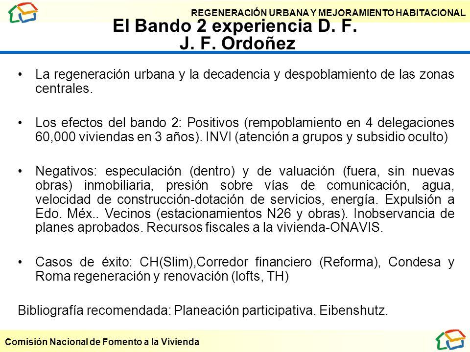 REGENERACIÓN URBANA Y MEJORAMIENTO HABITACIONAL Comisión Nacional de Fomento a la Vivienda El Bando 2 experiencia D. F. J. F. Ordoñez La regeneración