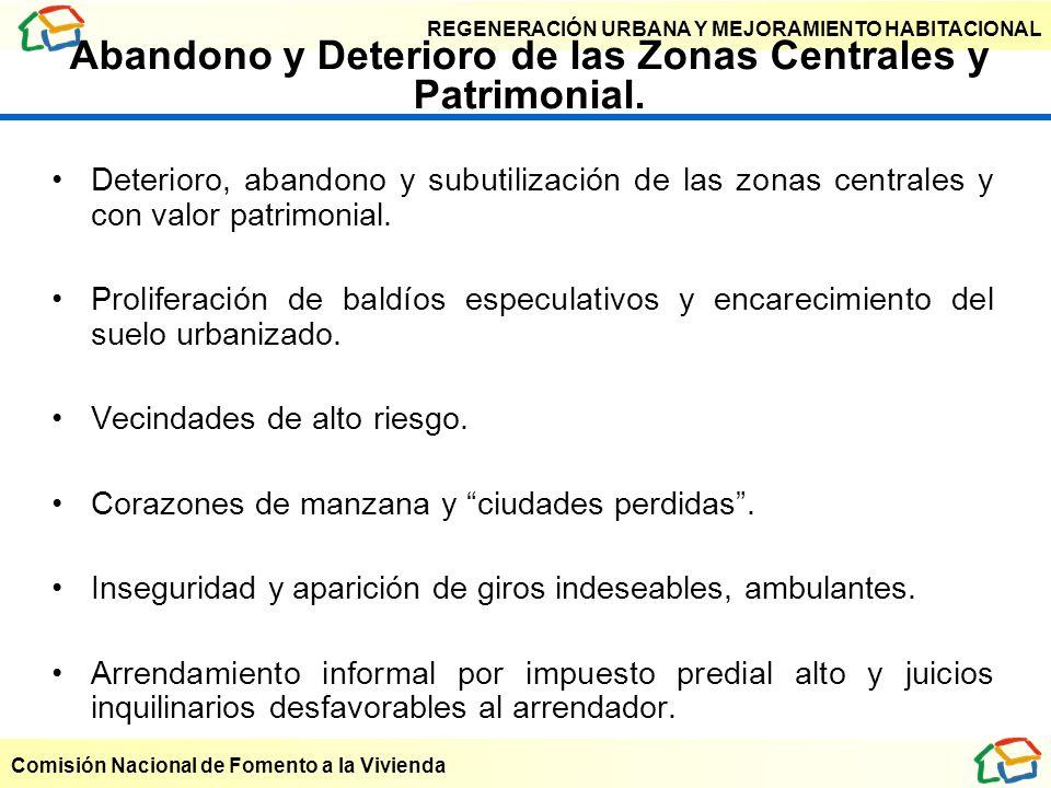 REGENERACIÓN URBANA Y MEJORAMIENTO HABITACIONAL Comisión Nacional de Fomento a la Vivienda Abandono y Deterioro de las Zonas Centrales y Patrimonial.