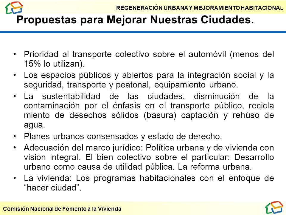 REGENERACIÓN URBANA Y MEJORAMIENTO HABITACIONAL Comisión Nacional de Fomento a la Vivienda Propuestas para Mejorar Nuestras Ciudades. Prioridad al tra
