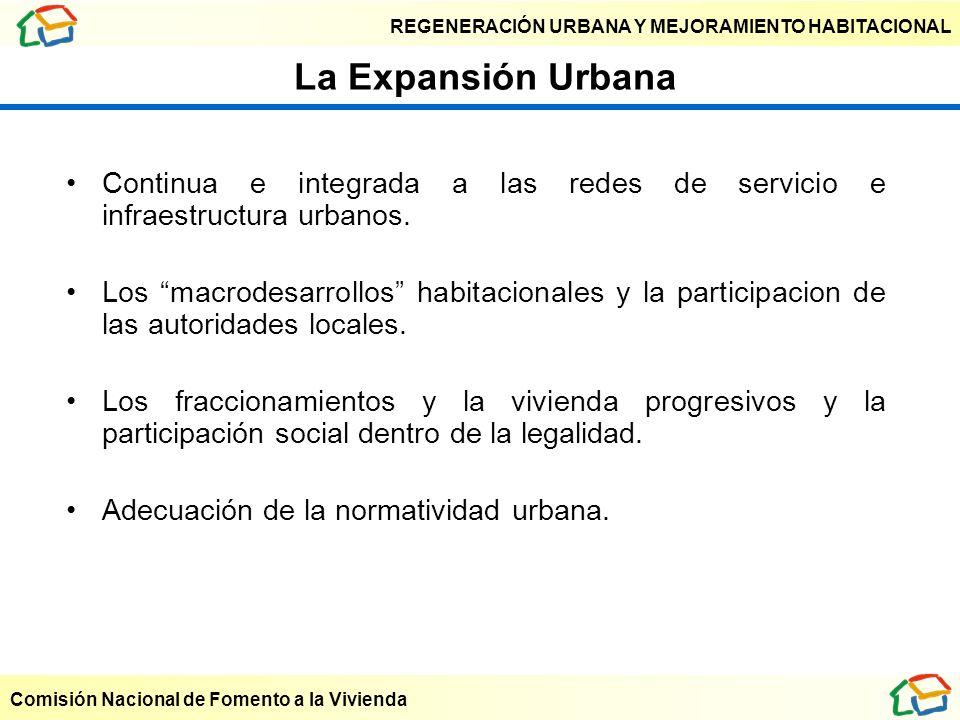 REGENERACIÓN URBANA Y MEJORAMIENTO HABITACIONAL Comisión Nacional de Fomento a la Vivienda La Expansión Urbana Continua e integrada a las redes de ser