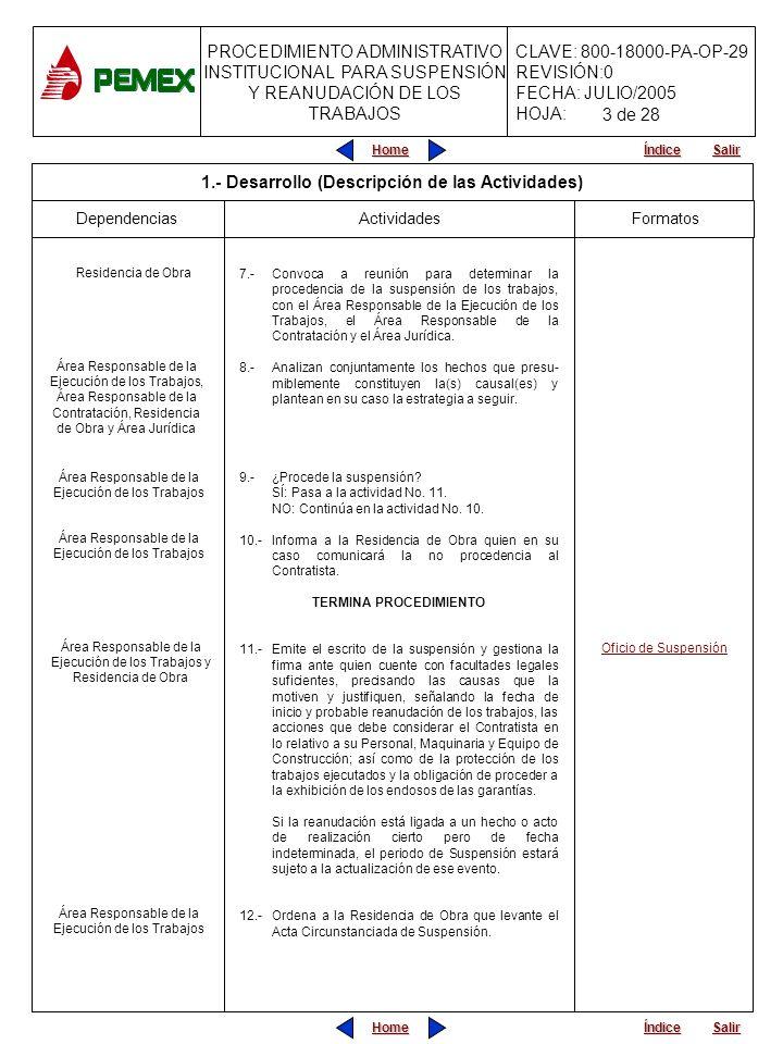PROCEDIMIENTO ADMINISTRATIVO INSTITUCIONAL PARA SUSPENSIÓN Y REANUDACIÓN DE LOS TRABAJOS CLAVE: 800-18000-PA-OP-29 REVISIÓN:0 FECHA: JULIO/2005 HOJA: Home Salir Índice Home Salir Índice 7.-Convoca a reunión para determinar la procedencia de la suspensión de los trabajos, con el Área Responsable de la Ejecución de los Trabajos, el Área Responsable de la Contratación y el Área Jurídica.