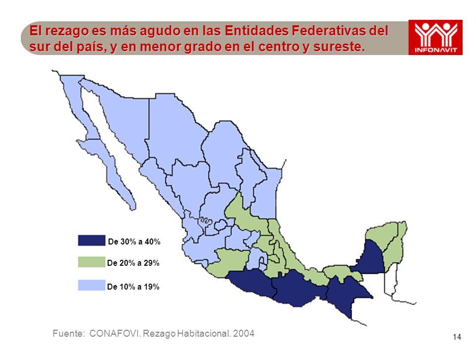 14 El rezago es más agudo en las Entidades Federativas del sur del país, y en menor grado en el centro y sureste.