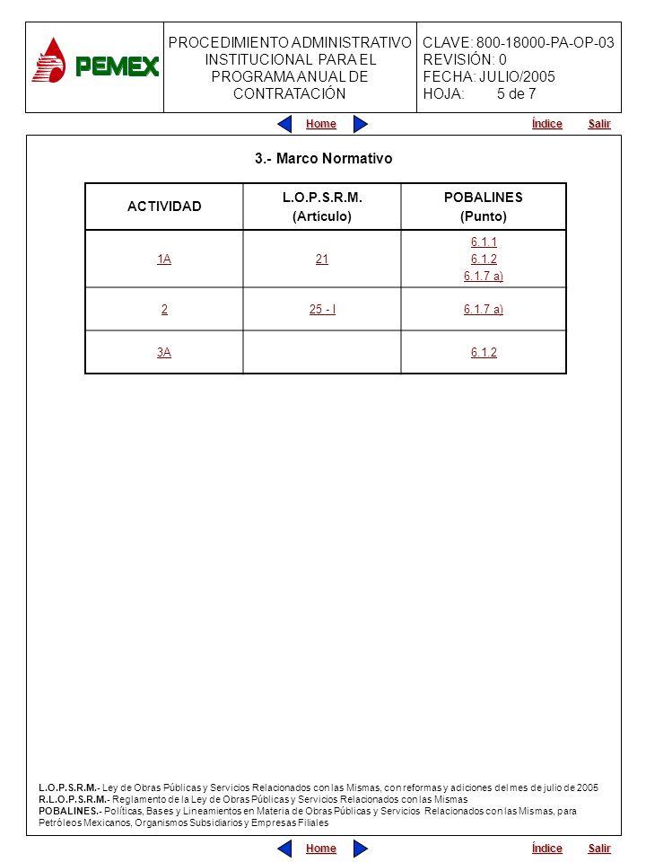 PROCEDIMIENTO ADMINISTRATIVO PARA PLANEACIÓN DE OBRAS Y SERVICIOS CLAVE: 800-18000-PA-OP-05 REVISIÓN: 0 FECHA: JULIO/2005 HOJA: CLAVE: 800-18000-PA-OP-03 REVISIÓN: 0 FECHA: JULIO/2005 HOJA: PROCEDIMIENTO ADMINISTRATIVO INSTITUCIONAL PARA EL PROGRAMA ANUAL DE CONTRATACIÓN Home Salir Índice Home Salir Índice 4.- ANEXOS (No existen anexos) 6 de 7