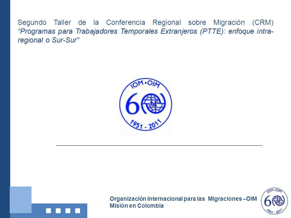 Organización Internacional para las Migraciones –OIM Misión en Colombia Programas para Trabajadores Temporales Extranjeros (PTTE): enfoque intra- regi