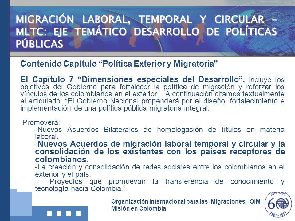 Organización Internacional para las Migraciones –OIM Misión en Colombia Contenido Capítulo Política Exterior y Migratoria El Capítulo 7 Dimensiones es