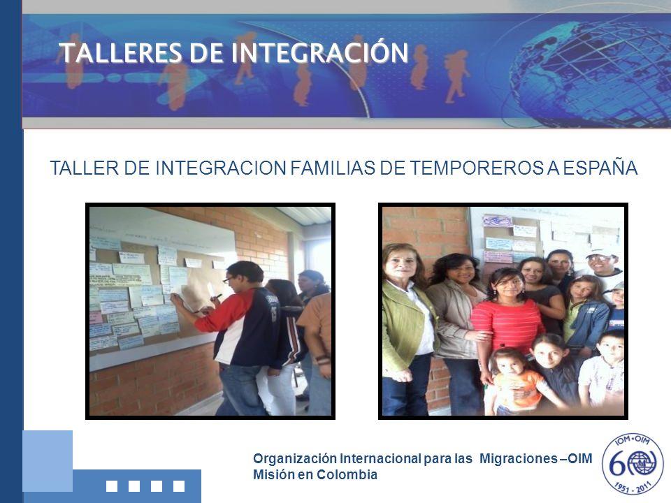 Organización Internacional para las Migraciones –OIM Misión en Colombia TALLERES DE INTEGRACIÓN TALLER DE INTEGRACION FAMILIAS DE TEMPOREROS A ESPAÑA