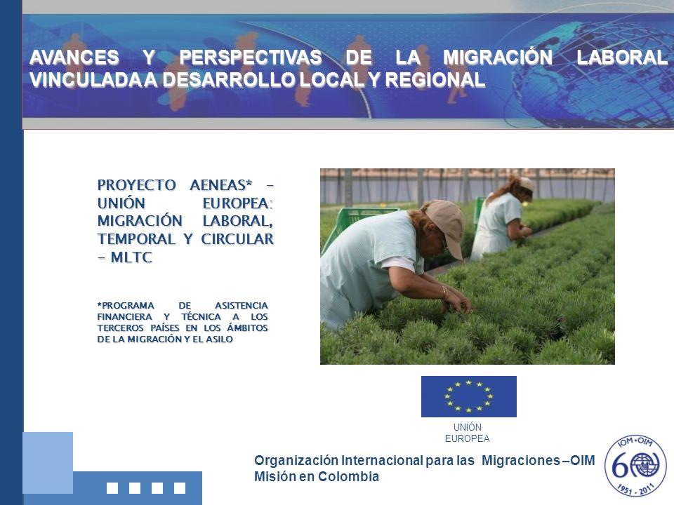Organización Internacional para las Migraciones –OIM Misión en Colombia OBJETIVOS: Objetivo General: Promover la migración regular desde Colombia a España y potenciarla como vector de desarrollo.