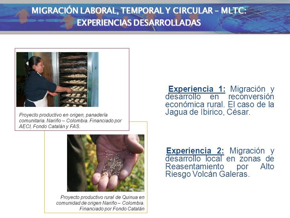 Experiencia 1: Migración y desarrollo en reconversión económica rural. El caso de la Jagua de Ibirico, César. Experiencia 2: Migración y desarrollo lo