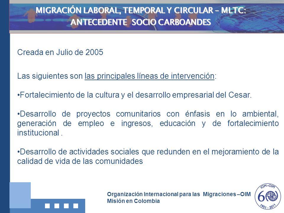 Organización Internacional para las Migraciones –OIM Misión en Colombia MIGRACIÓN LABORAL, TEMPORAL Y CIRCULAR – MLTC: ANTECEDENTE SOCIO CARBOANDES Cr