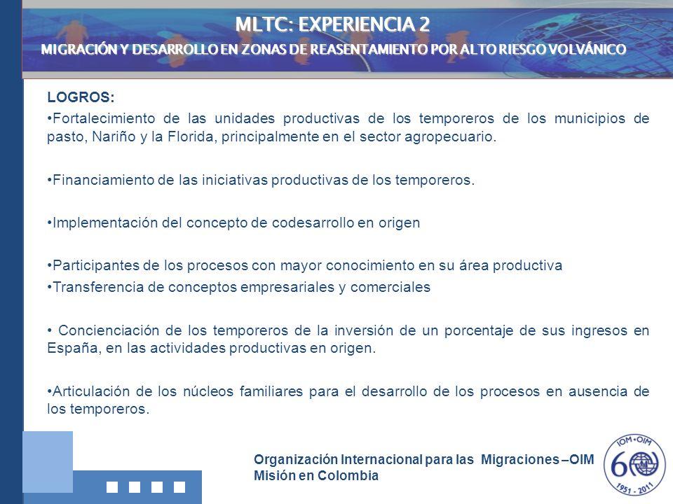 Organización Internacional para las Migraciones –OIM Misión en Colombia MLTC: EXPERIENCIA 2 MIGRACIÓN Y DESARROLLO EN ZONAS DE REASENTAMIENTO POR ALTO