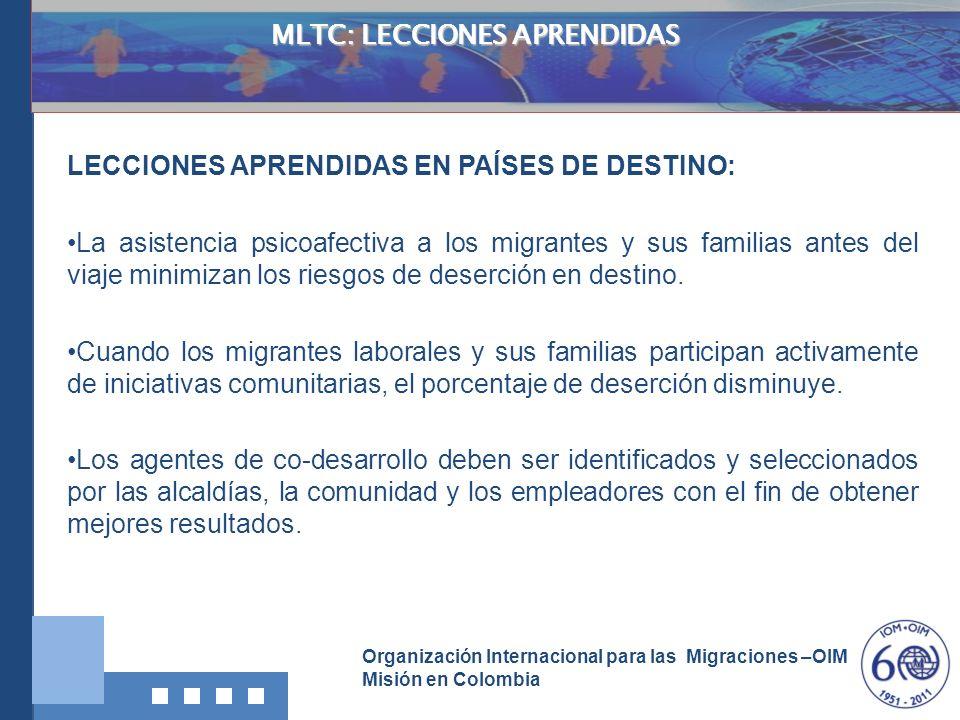 Organización Internacional para las Migraciones –OIM Misión en Colombia MLTC: LECCIONES APRENDIDAS LECCIONES APRENDIDAS EN PAÍSES DE DESTINO: La asist