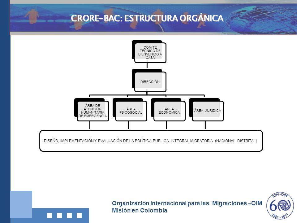 Organización Internacional para las Migraciones –OIM Misión en Colombia Investigación, Documentació n y Divulgación COMITÉ TÉCNICO DE BIENVENIDO A CAS