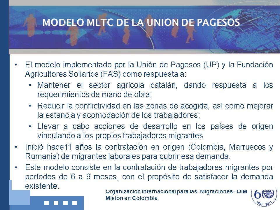 Organización Internacional para las Migraciones –OIM Misión en Colombia La Unión de Pagesos ha establecido dos criterios principales para la contratación: la procedencia de los trabajadores de zonas rurales y agrícolas; y, entre éstas, de zonas especialmente deprimidas.