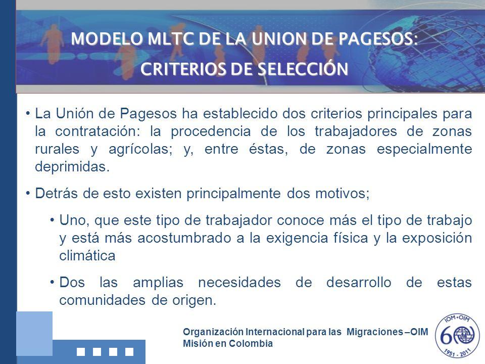 Organización Internacional para las Migraciones –OIM Misión en Colombia La Unión de Pagesos ha establecido dos criterios principales para la contratac