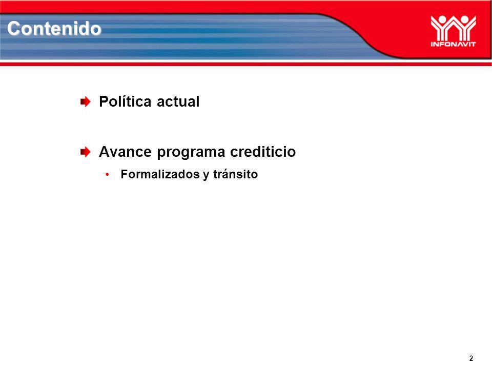 2 Política actual Avance programa crediticio Formalizados y tránsito Contenido