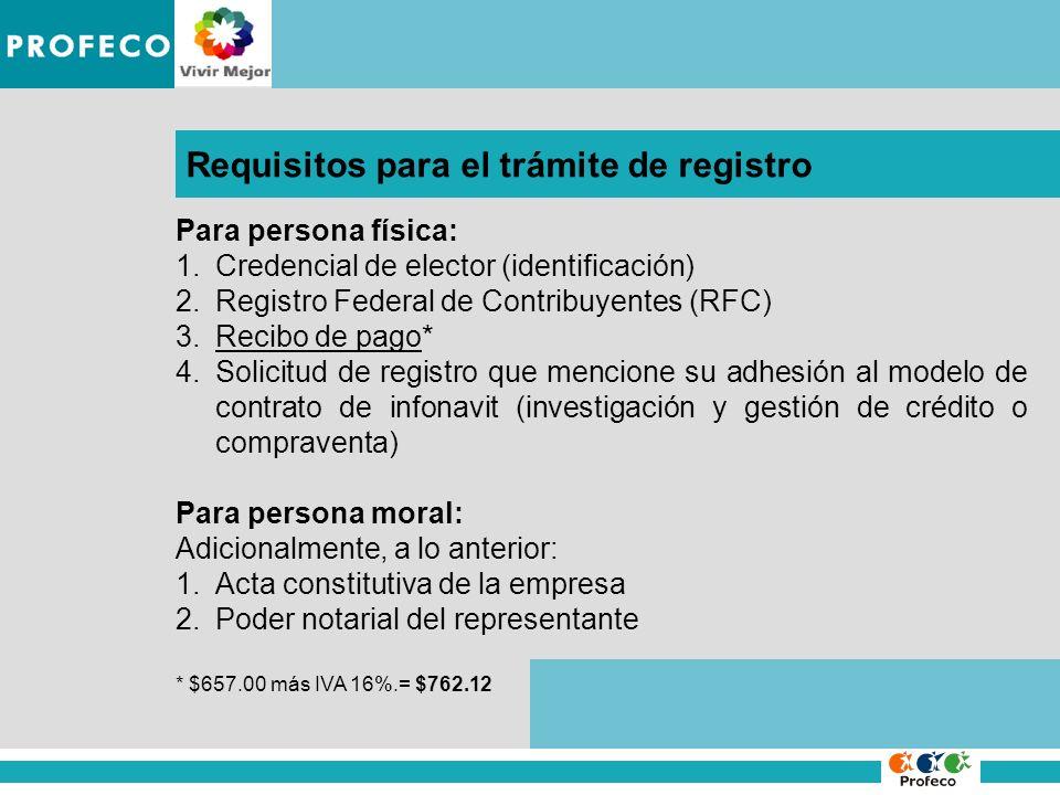 IMPROCEDENCIA DE LA DENUNCIA Requisitos para el trámite de registro Para persona física: 1.Credencial de elector (identificación) 2.Registro Federal d