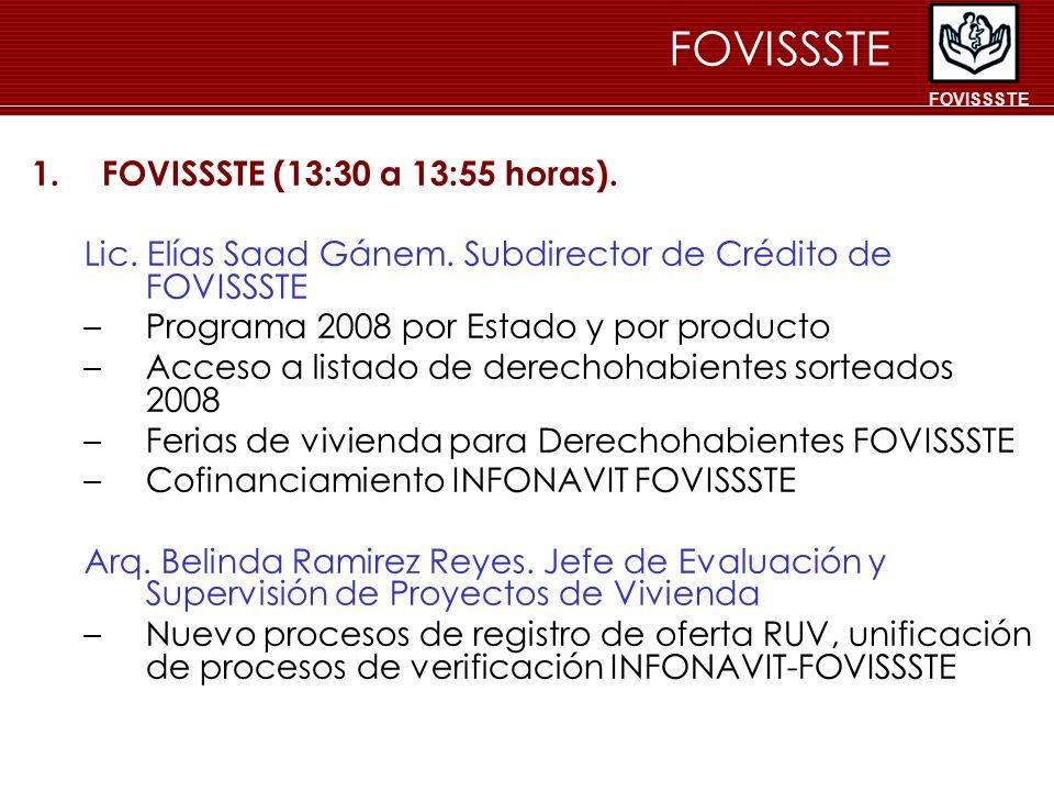 1.FOVISSSTE (13:30 a 13:55 horas). Lic. Elías Saad Gánem. Subdirector de Crédito de FOVISSSTE –Programa 2008 por Estado y por producto –Acceso a lista