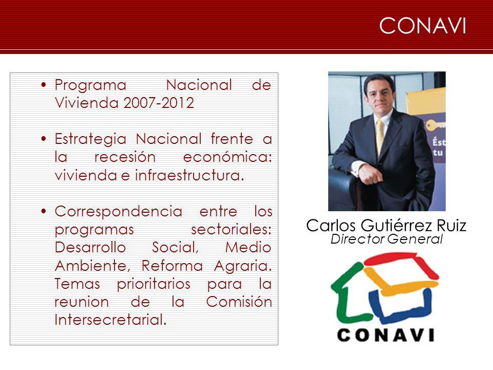 CONAVI Programa Nacional de Vivienda 2007-2012 Estrategia Nacional frente a la recesión económica: vivienda e infraestructura. Correspondencia entre l