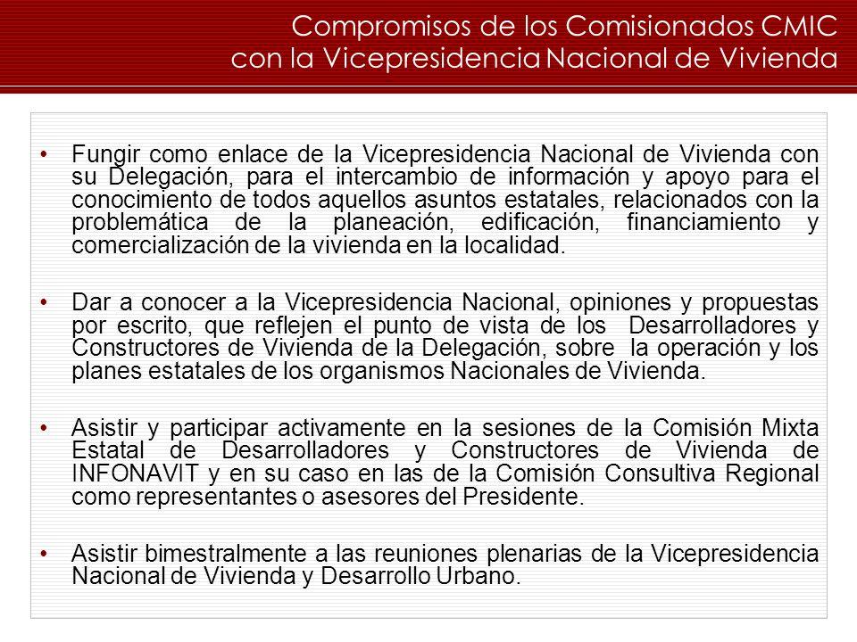 Fungir como enlace de la Vicepresidencia Nacional de Vivienda con su Delegación, para el intercambio de información y apoyo para el conocimiento de to
