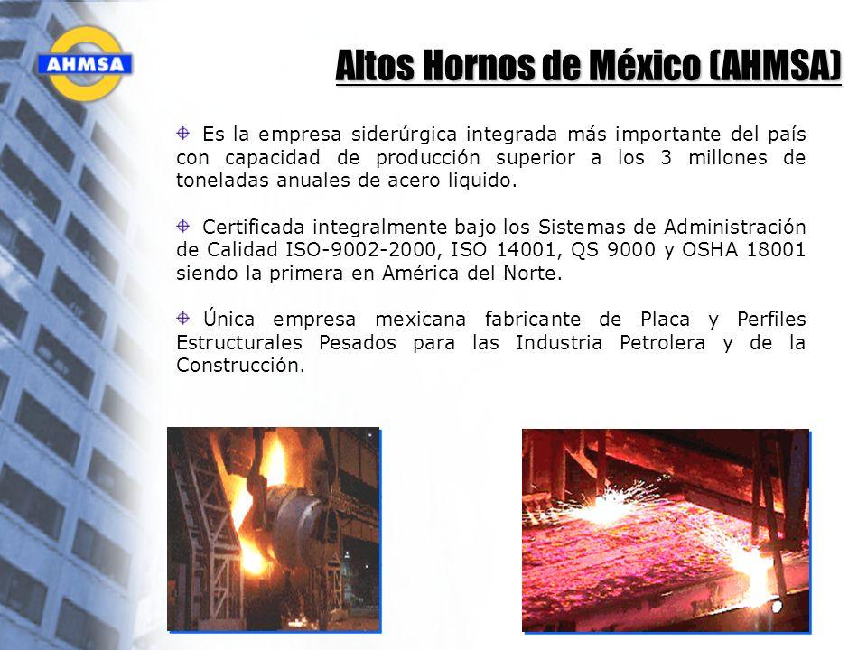 Altos Hornos de México (AHMSA) Es la empresa siderúrgica integrada más importante del país con capacidad de producción superior a los 3 millones de to