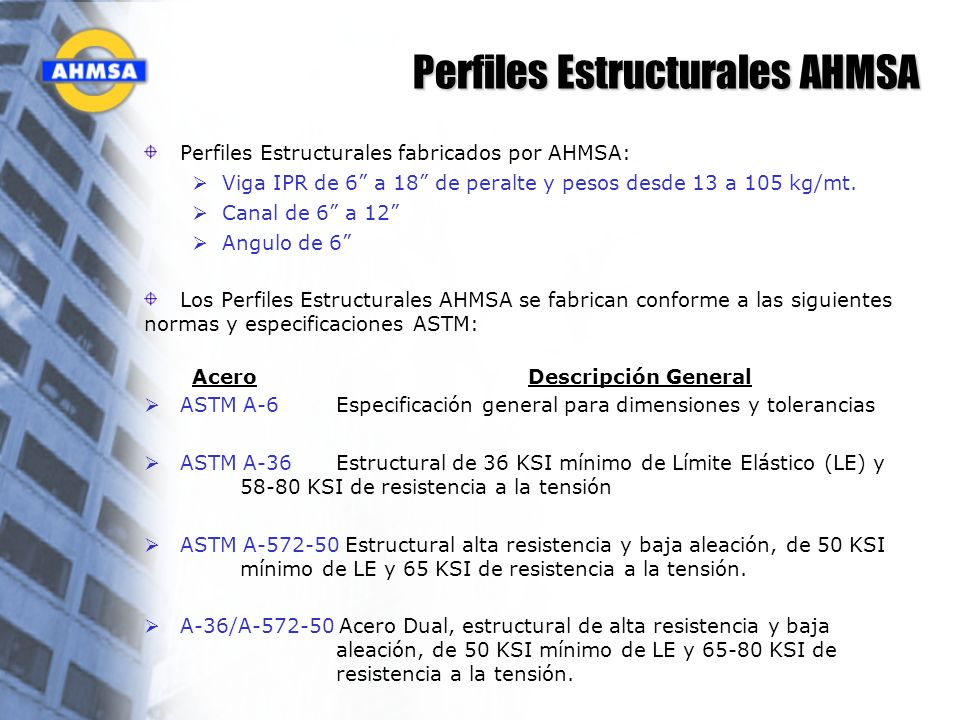Perfiles Estructurales AHMSA Perfiles Estructurales fabricados por AHMSA: Viga IPR de 6 a 18 de peralte y pesos desde 13 a 105 kg/mt. Canal de 6 a 12