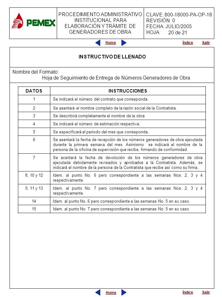 PROCEDIMIENTO ADMINISTRATIVO INSTITUCIONAL PARA ELABORACIÓN Y TRÁMITE DE GENERADORES DE OBRA CLAVE: 800-18000-PA-OP-18 REVISIÓN: 0 FECHA: JULIO/2005 H