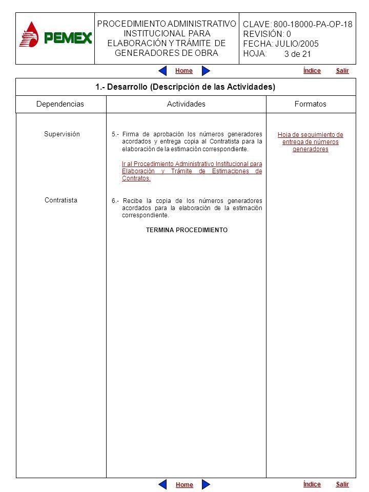 PROCEDIMIENTO ADMINISTRATIVO INSTITUCIONAL PARA ELABORACIÓN Y TRÁMITE DE GENERADORES DE OBRA CLAVE: 800-18000-PA-OP-18 REVISIÓN: 0 FECHA: JULIO/2005 HOJA: Home Salir Índice Home Salir Índice INICIA PROCEDIMIENTO Viene del Procedimiento Administrativo Institucional para Control de Obras y Servicios 1.-Elabora, firma y entrega a la Supervisión los números generadores de la obra ejecutada, pudiendo ser con una periodicidad de una semana a partir de la fecha de inicio real de los trabajos.