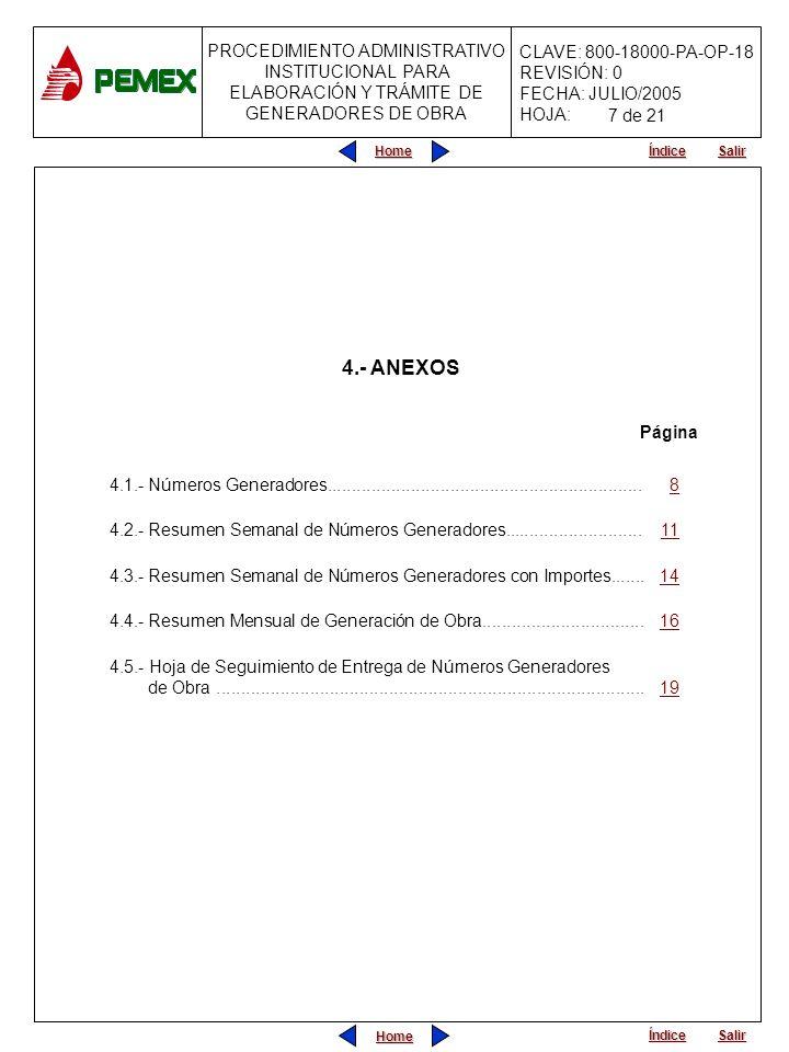 PROCEDIMIENTO ADMINISTRATIVO INSTITUCIONAL PARA ELABORACIÓN Y TRÁMITE DE GENERADORES DE OBRA CLAVE: 800-18000-PA-OP-18 REVISIÓN: 0 FECHA: JULIO/2005 HOJA: Home Salir Índice Home Salir Índice Nombre del Formato: Resumen Mensual de Generación de Obra INSTRUCTIVO DE LLENADO DATOSINSTRUCCIONES 20Se indicará el nombre del supervisor de obra y su firma en original.