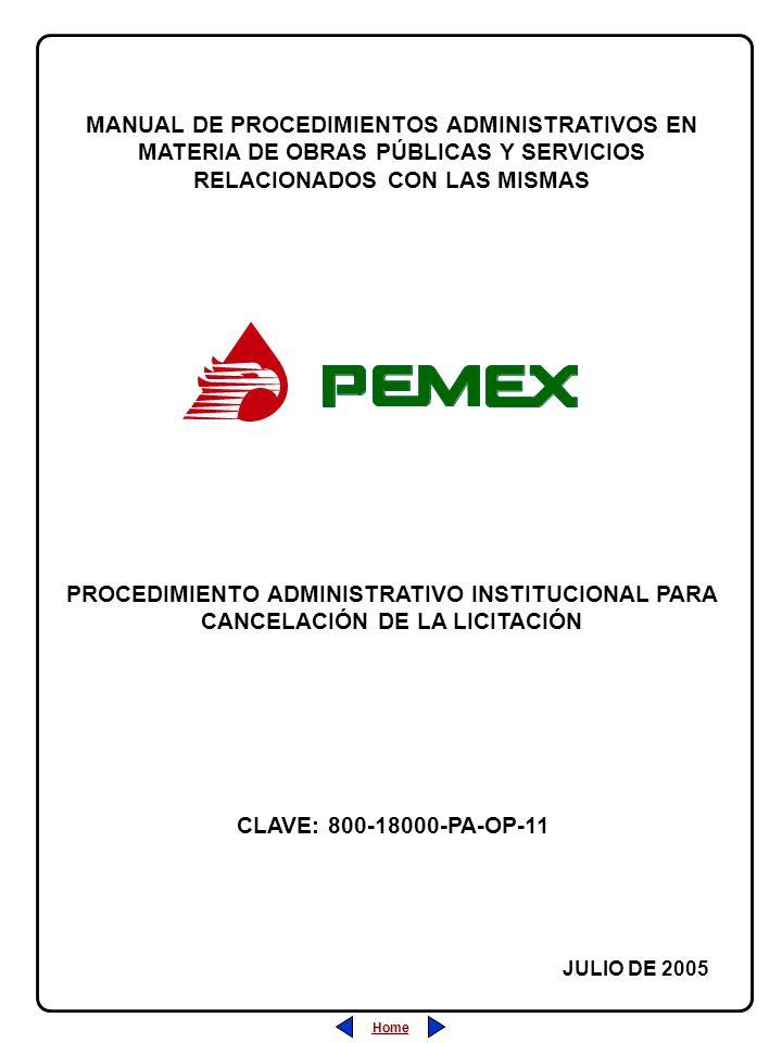PROCEDIMIENTO ADMINISTRATIVO PARA PLANEACIÓN DE OBRAS Y SERVICIOS CLAVE: 800-18000-PA-OP-11 REVISIÓN: 0 FECHA: JULIO/2005 HOJA: PROCEDIMIENTO ADMINISTRATIVO INSTITUCIONAL PARA CANCELACIÓN DE LA LICITACIÓN Home Salir Índice Home Salir Índice ÍNDICE Página 1 de 9 1.- Desarrollo (Descripción de las Actividades).....................................22 2.- Diagrama de Flujo...........................................................................44 3.- Marco Normativo.............................................................................77 4.- Anexos...........................................................................................88 5.- Sección de Firmas de Autorización y Cambios................................99