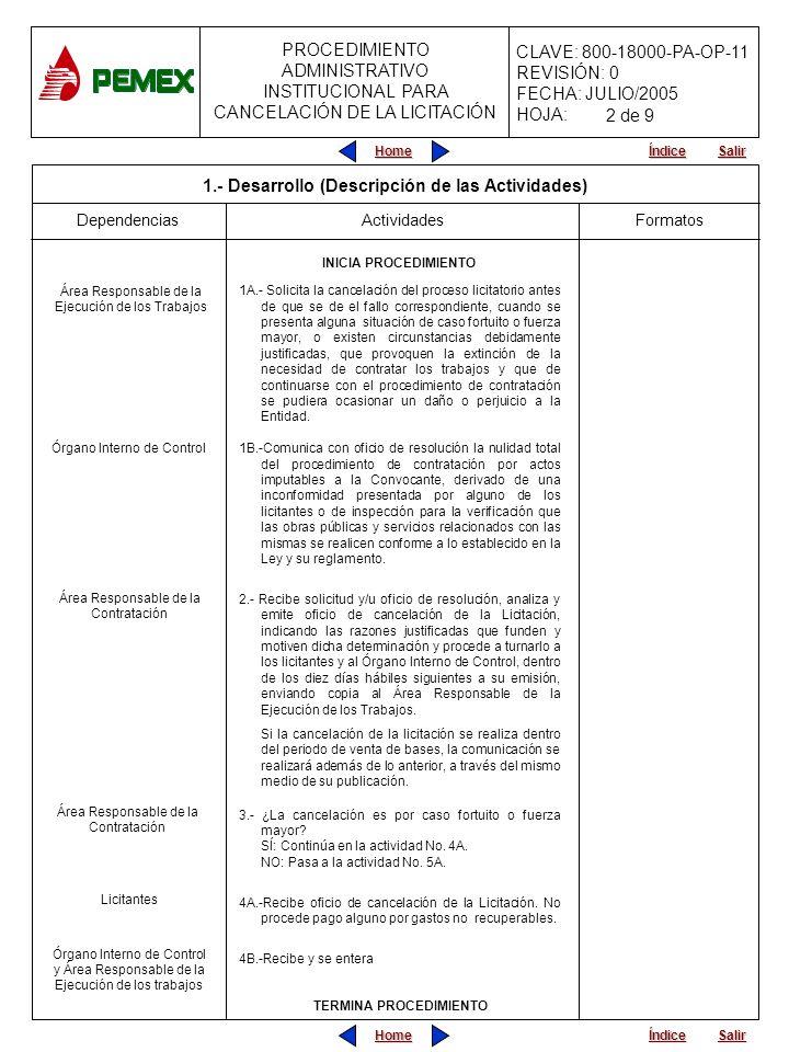 PROCEDIMIENTO ADMINISTRATIVO PARA PLANEACIÓN DE OBRAS Y SERVICIOS CLAVE: 800-18000-PA-OP-11 REVISIÓN: 0 FECHA: JULIO/2005 HOJA: PROCEDIMIENTO ADMINISTRATIVO INSTITUCIONAL PARA CANCELACIÓN DE LA LICITACIÓN Home Salir Índice Home Salir Índice FormatosDependencias 5A.- Recibe oficio de cancelación y procede a soportar documentalmente los gastos no recuperables procedentes en que hubiera incurrido, los cuales deberán ser razonables y estar directamente relacionados con la operación.