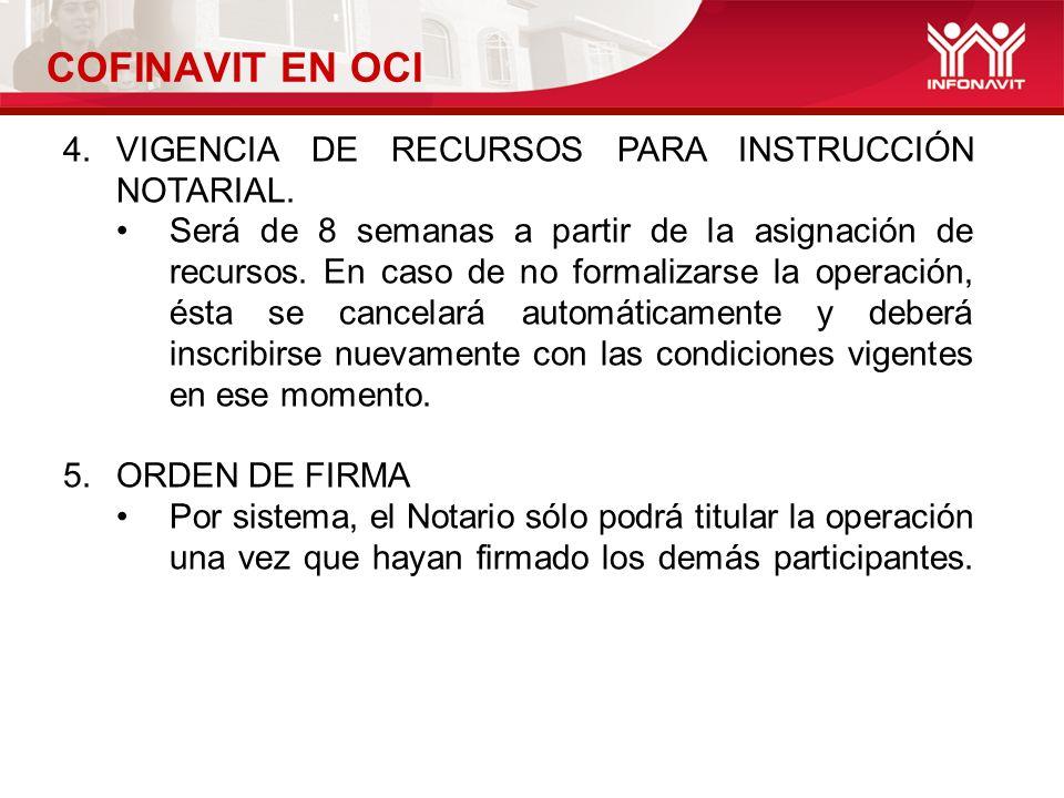 COFINAVIT EN OCI 4.VIGENCIA DE RECURSOS PARA INSTRUCCIÓN NOTARIAL.
