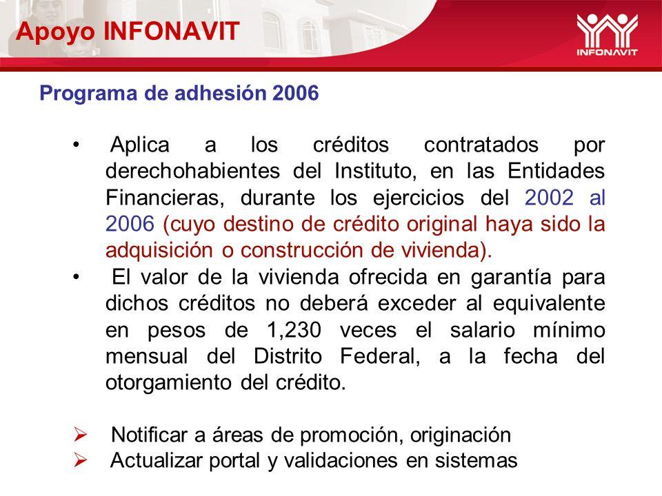 Apoyo INFONAVIT Programa de adhesión 2006 Aplica a los créditos contratados por derechohabientes del Instituto, en las Entidades Financieras, durante los ejercicios del 2002 al 2006 (cuyo destino de crédito original haya sido la adquisición o construcción de vivienda).