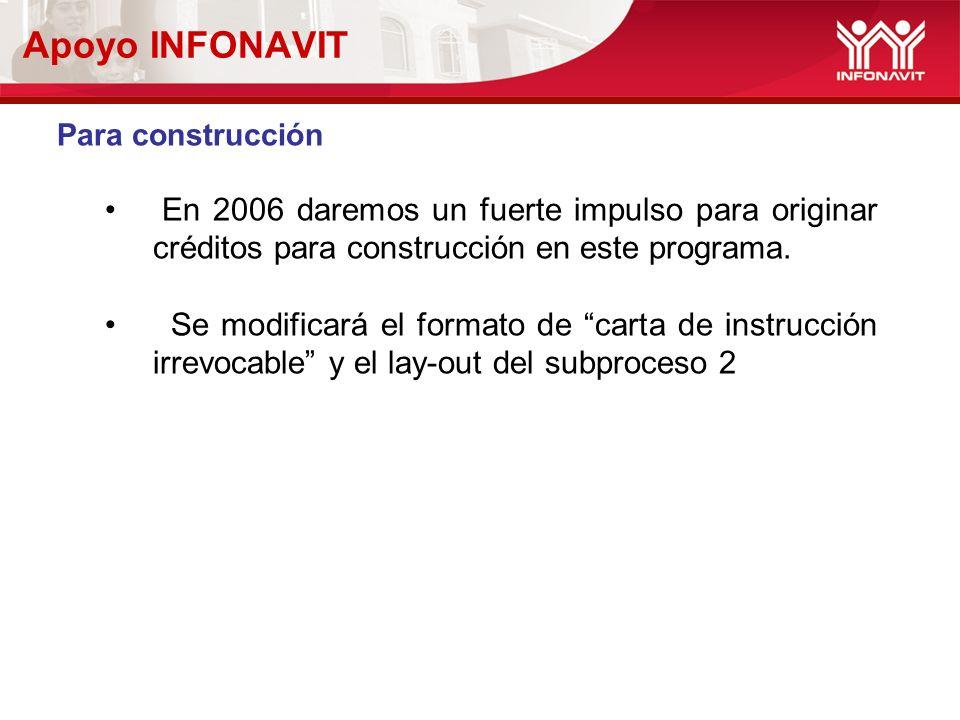 Apoyo INFONAVIT Para construcción En 2006 daremos un fuerte impulso para originar créditos para construcción en este programa. Se modificará el format